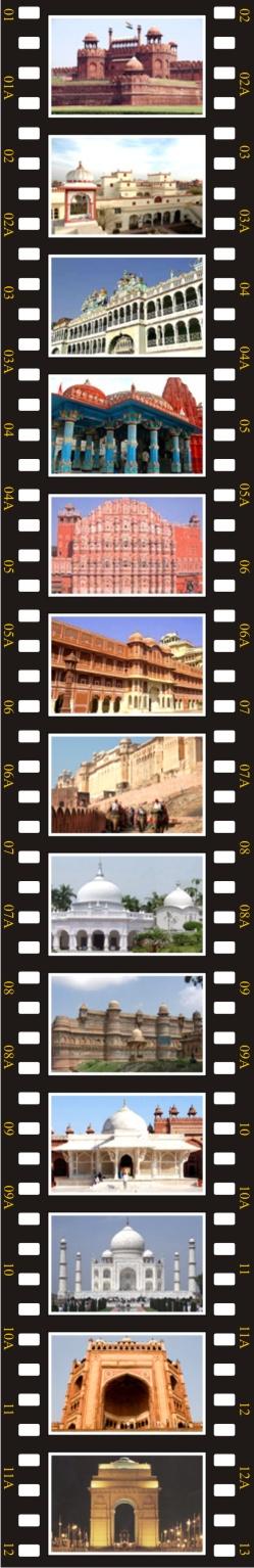 Delhi, Varanasi, Sarnach, Khajuraho, Jhansi, Orcha, Gwalior, Agra, Fatehpur Sikri, Jaipur, Pushkar, Delhi